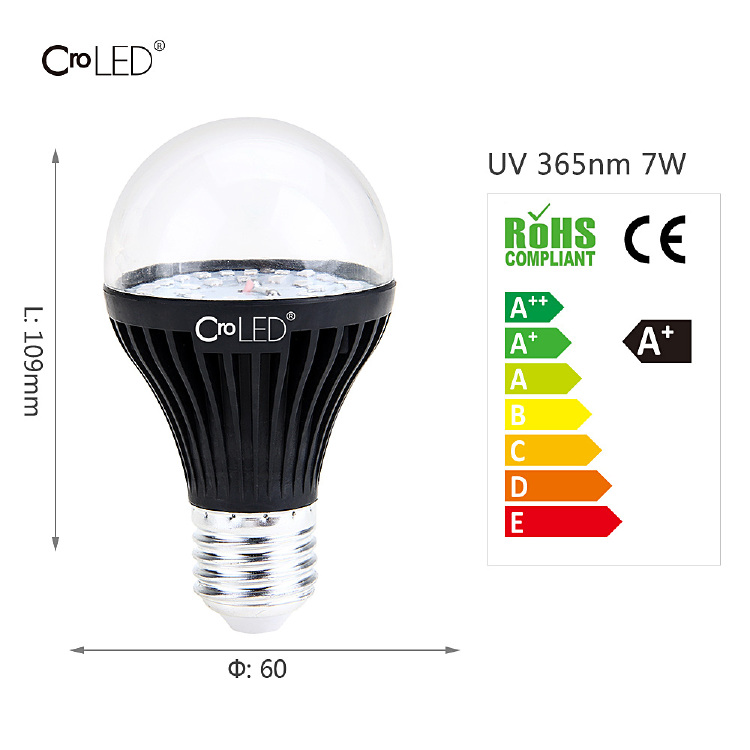 E27 A19 7W 365nm LED UV Ultraviolet Blacklight Bulb