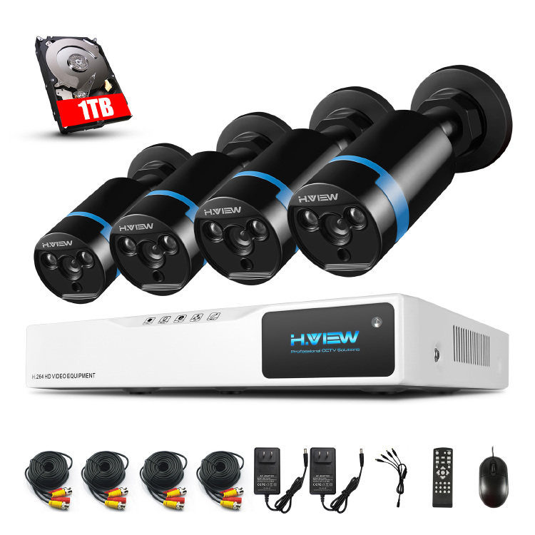 H.View - 4CH 1080P Security Camera System with 1TB Hard Driv