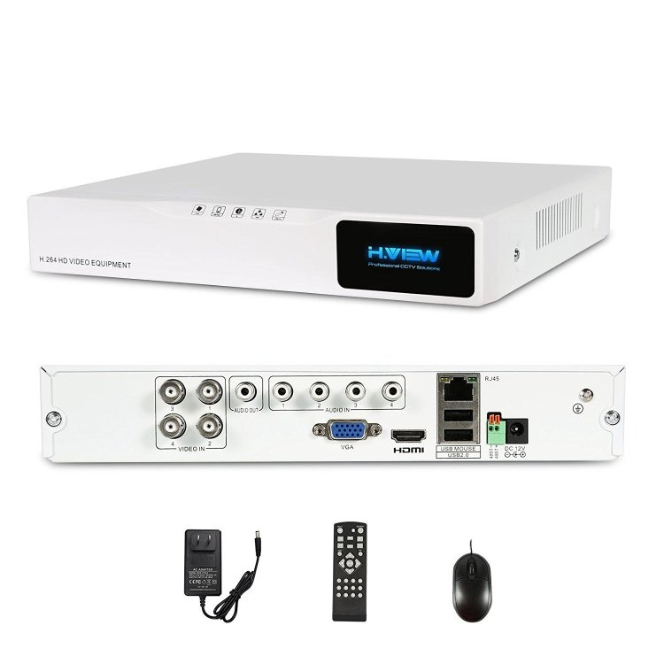H.View 4CH Surveillance Video DVR Recorder, 720P HD Цифровой