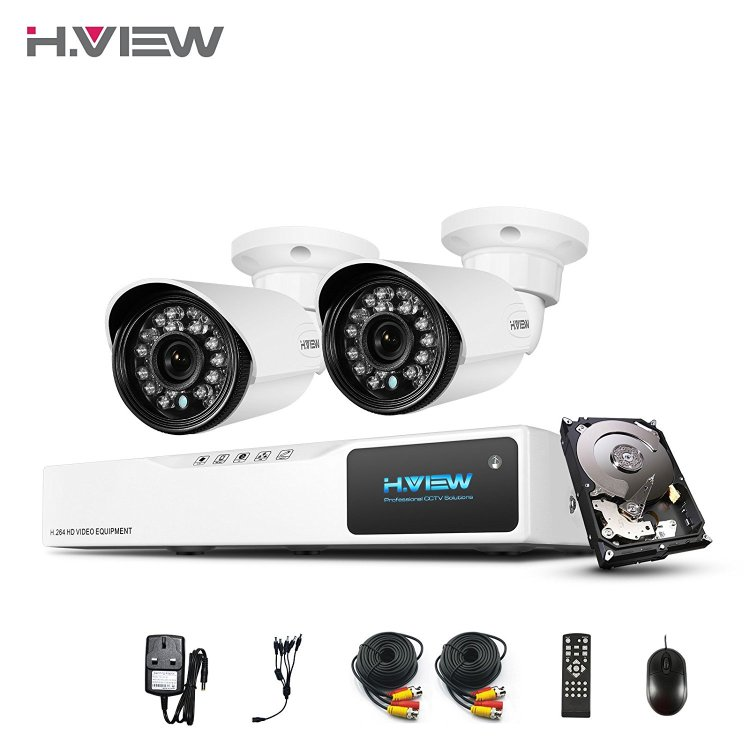 H.View HD Home Security Camera System with 1TB HDD, 4 Channe