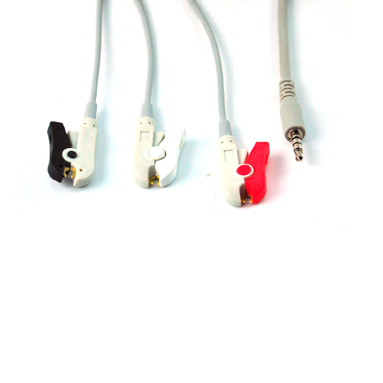 3 Lead Wire ECG Clip Medical Cable with Stereo Jack