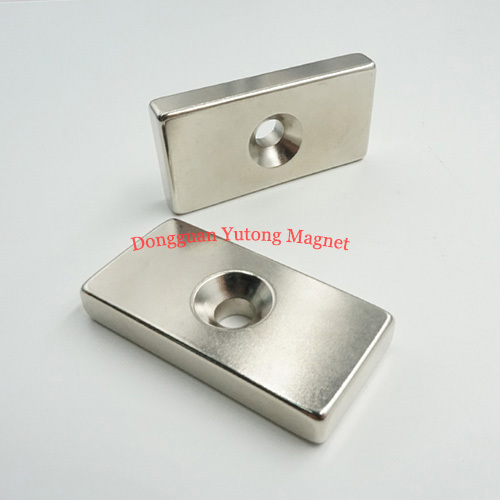 Block Rectangle Neodymium Powerful  Countersunk Magnets