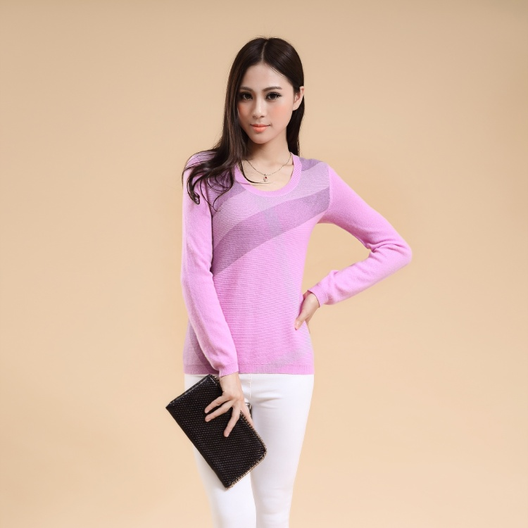 High quality Ladies round neck Cashmere printed sweater