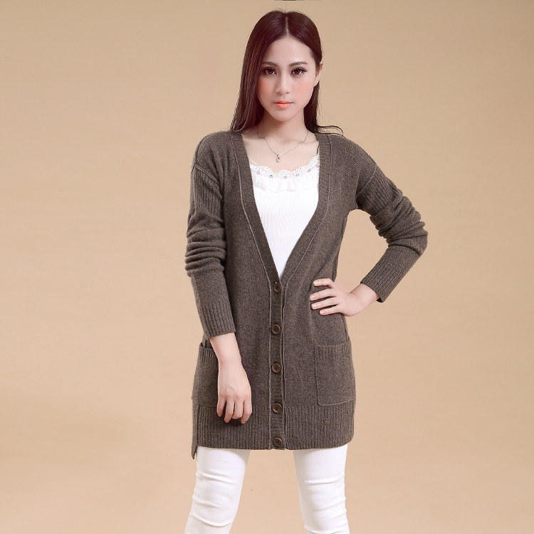 Ladies' V neck cashmere cardigan sweater
