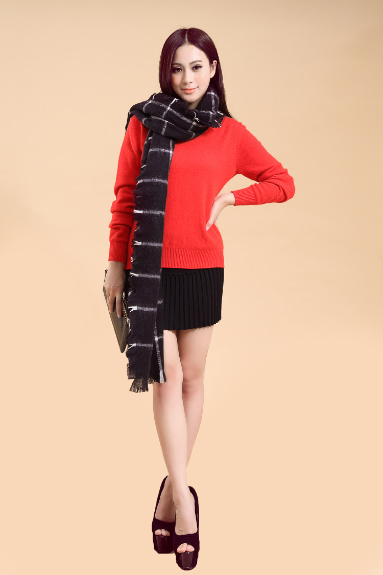 Fashional Black/Whiter stripe Mohair knitwear scarf