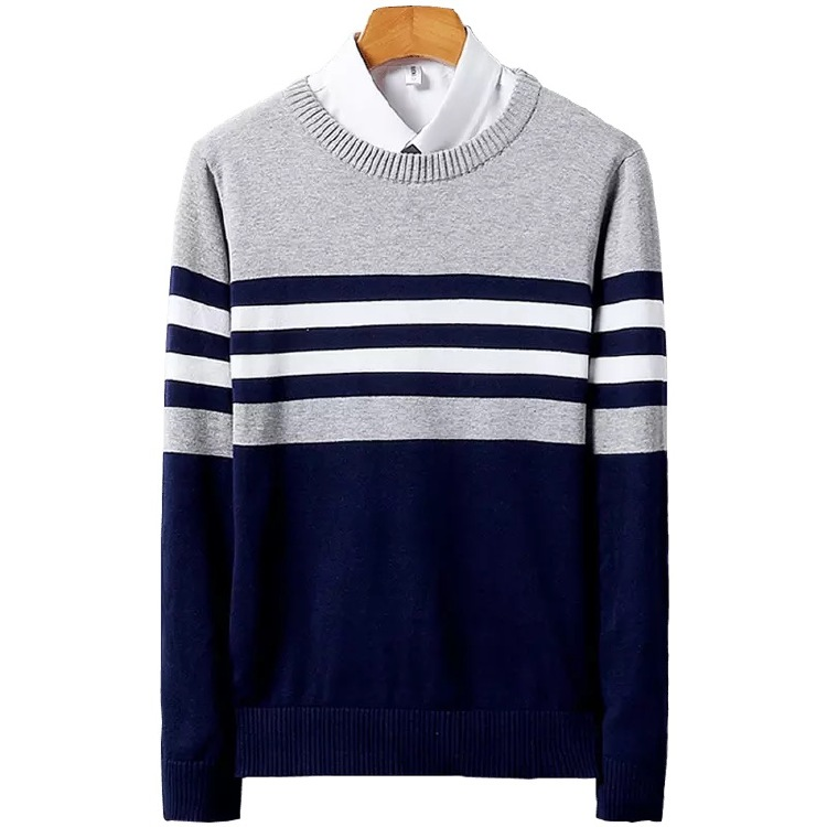 Men's Cotton Crew neck Long sleeve stripe sweater