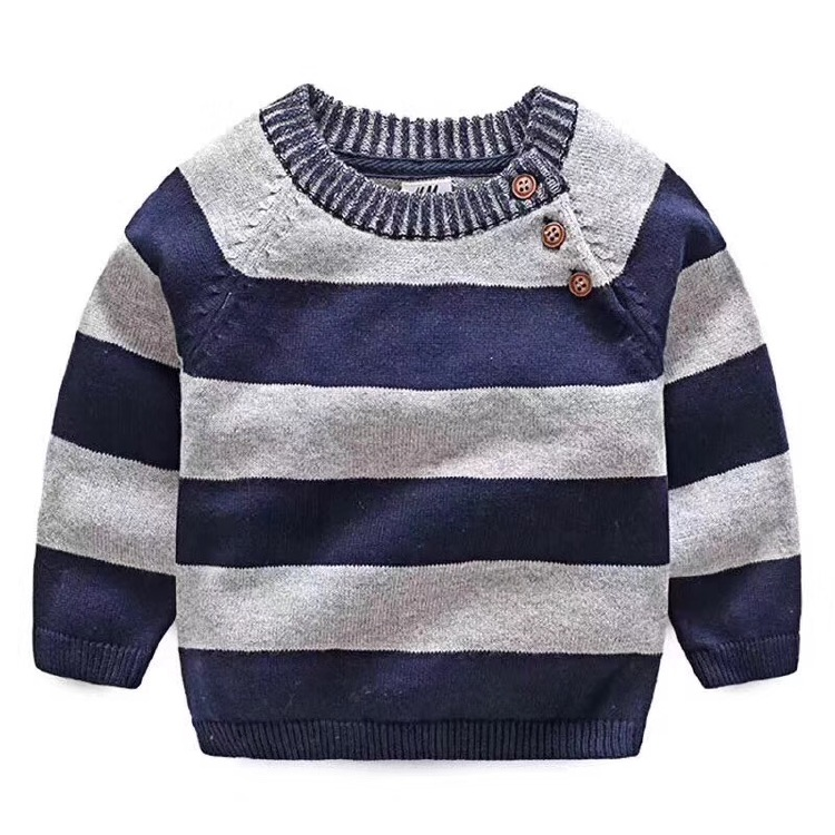 100%Cotton stripe Baby pullover sweater with elbow patch