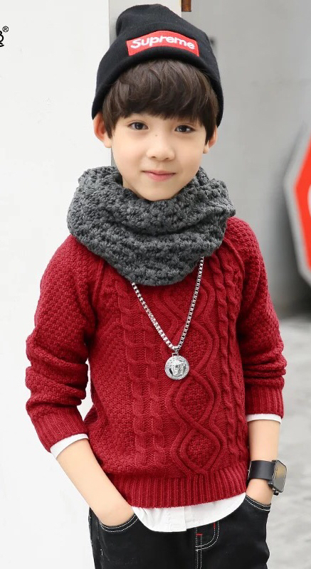 Warmly 100%Cotton soft Boy's pullover sweater for winter