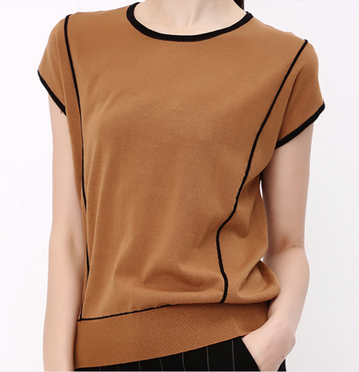 Cool Thin Short Sleeves round neck pullover sweater
