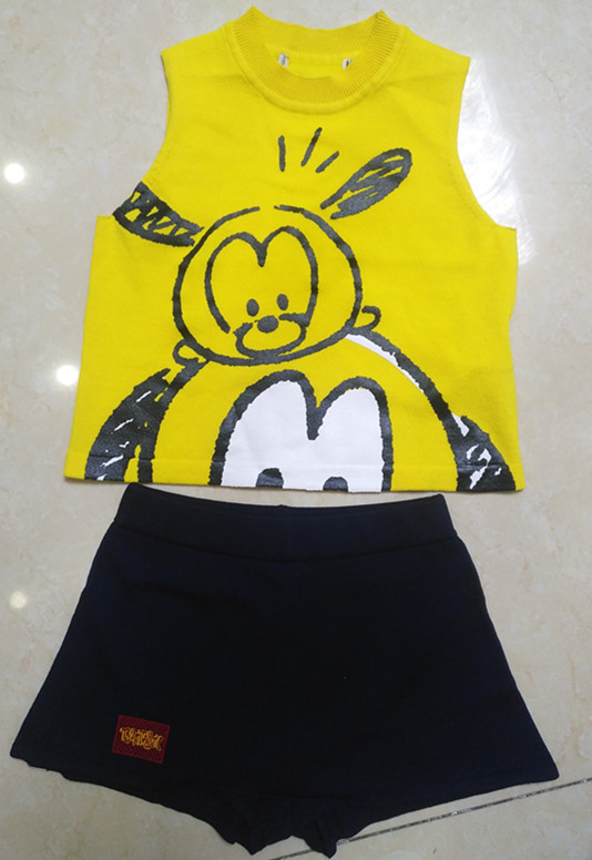 Kid's Sweater Suit /Sleeveless Vest with printing/ Pantskirt