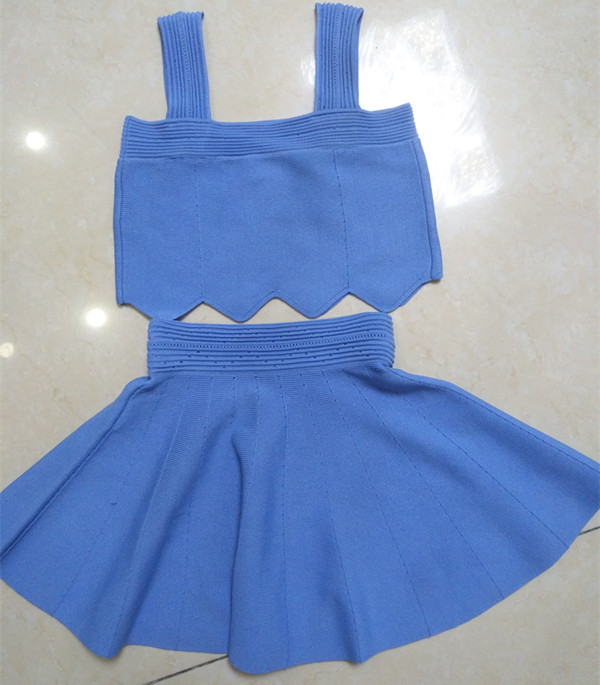 Fashionable  Kid's Sweater Suit/Halter Top /Pleated Skirt
