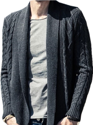 Fashional Rib and Cable Men's knitted open cardigan sweater