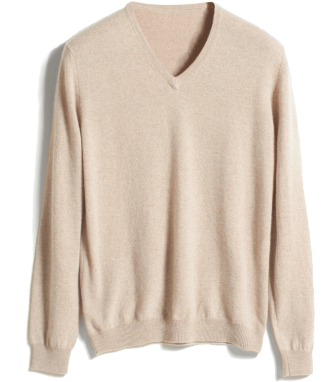 Men's V Neck Plain Knitted Pure Cashmere Sweater Jumper