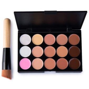15 Colors Makeup Concealer Palette + A Makeup Brus Contour F