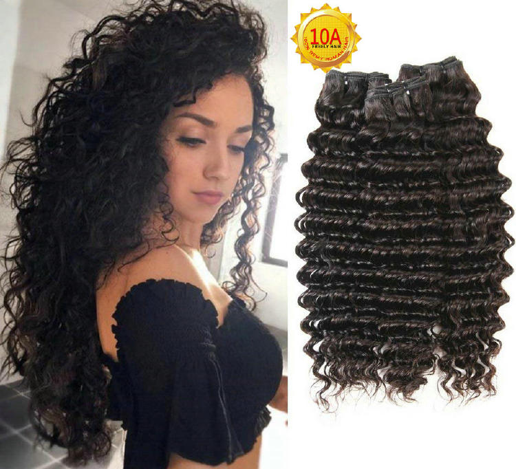 "10""10""10""  Deep Wave Unprocessed Virgin Human Hair 3 Bundles"
