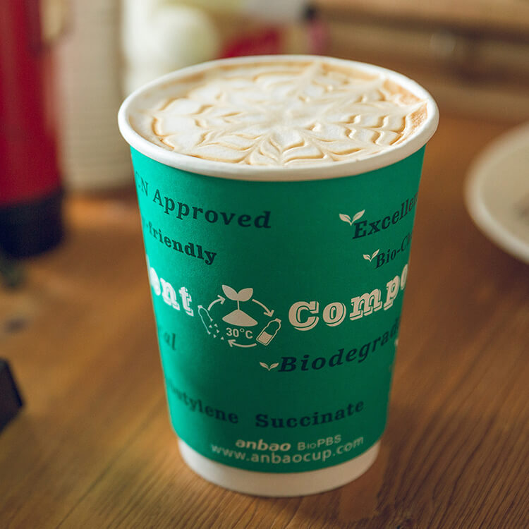 Anbao Customized Biodegradable PBS Coffee Paper Cups