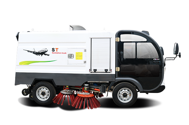 Electric sweeper truck with washing tank