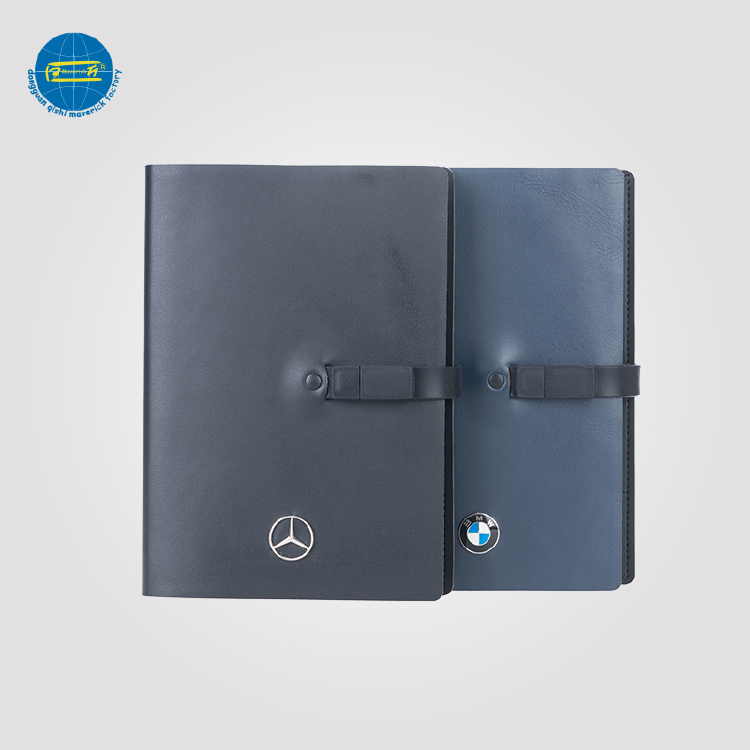 Half leather and PU Notebook with USB