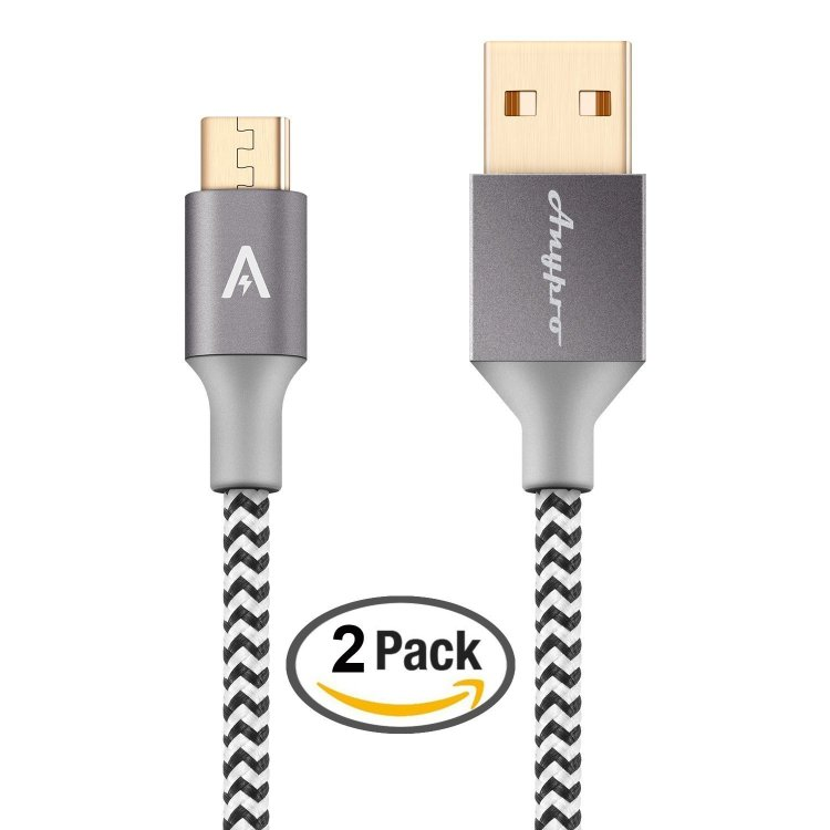 Anypro 2 Pack Nylon Braided Gold Plated Micro USB to Reversible USB 2.0 Cables 1M+2M