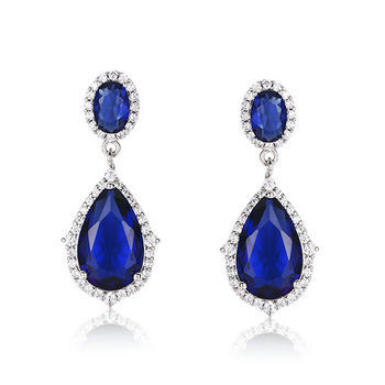 sterling silver dangle earring with tear shape sapphire & cl