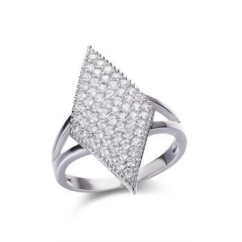 Micro-pave small clear CZ brass ring by diamond cut shape &
