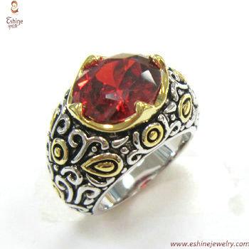RI3438 - Indonesien Blumenart garnett Oval geschnitten Ring
