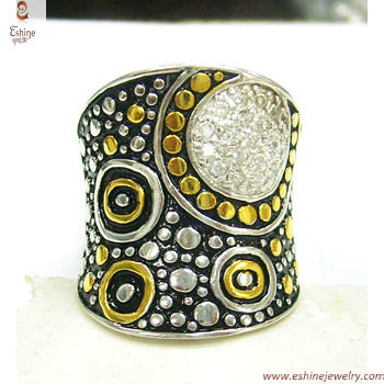 RI3280 - bali style natural dots designs barss finger ring w