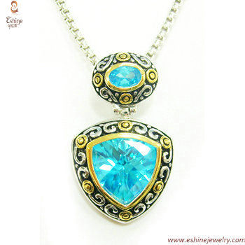 ST1351P - Wholesale designer inspired Aquamarine dangling pe