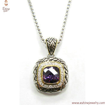 ST1598P - Designer inspired Amethyst pendant with belt Braid