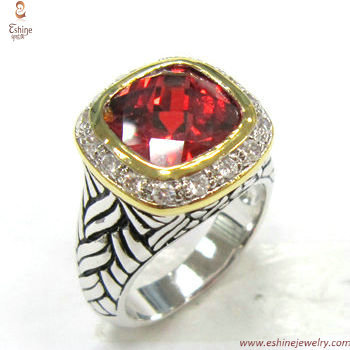 ST1598R - Hotest Garnet CZ braided pattern ring with Antique