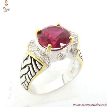 RI3566 - Fashion Brass round ruby finger ring with braided p