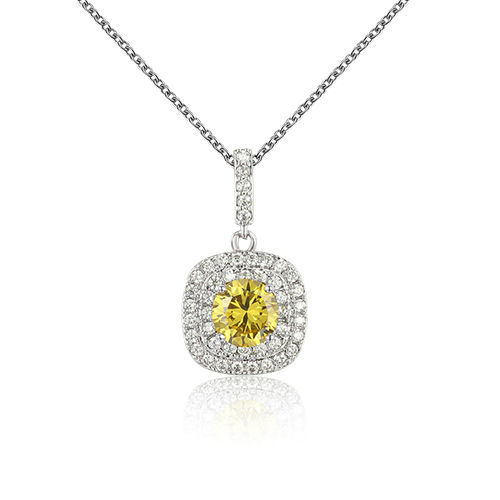 ST2236P - Round Yellow Diamond claw setting dangling pendant