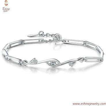 SB0128 - Hollow tangular links custom made Diamond imitation