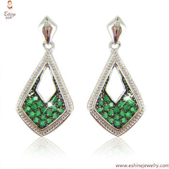 ST1860E - 925 sterling silver emerald CZ micropaved dangling
