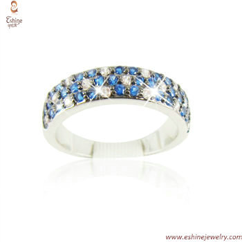 RI4002 - Checkboard style colorful silver stackable ring ban