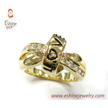 RI3617 - 14k gold love cross ring with wax setting small CZ