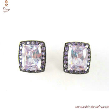 ST1818E - Lavender cushion CZ clip earring with twon tones p