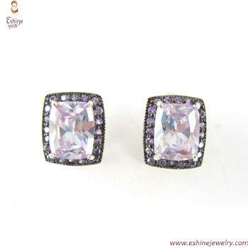 ST1818E - Lavender cushion CZ clip earring with twon tones p