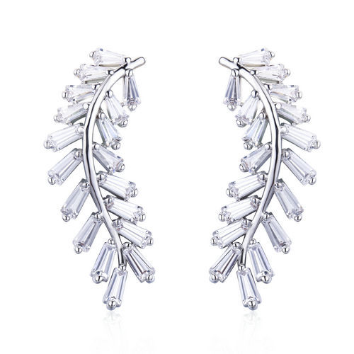 Leaf Earring - Diamond Immitation Cubic Zirkonia Einstellung