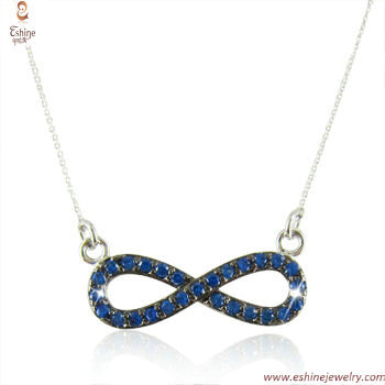 Inifinite pendant necklace - Sapphire CZ micropaved as sign