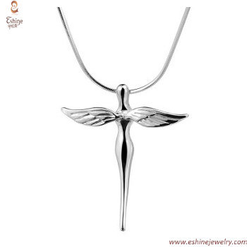 Cross angel pendant - Religious theme flying angel wings wit