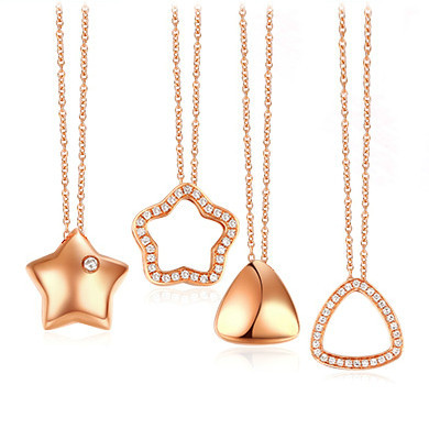 Rose gold pendants -  sterling silver material cute Fancy sh