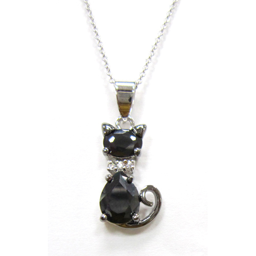 Lovely Cat pets pendant - black CZ with white rhodium platin