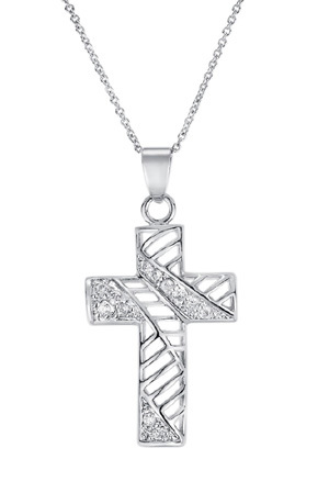Hollow cross pendant - brass diamond immitation Clear CZ mic