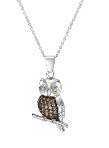 PE3185 - Owl pendant necklace with champagne CZ stones & bla