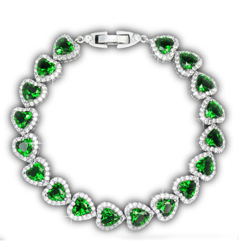 Gem stones bracelet collections - Trenday Heart Emareld / ru