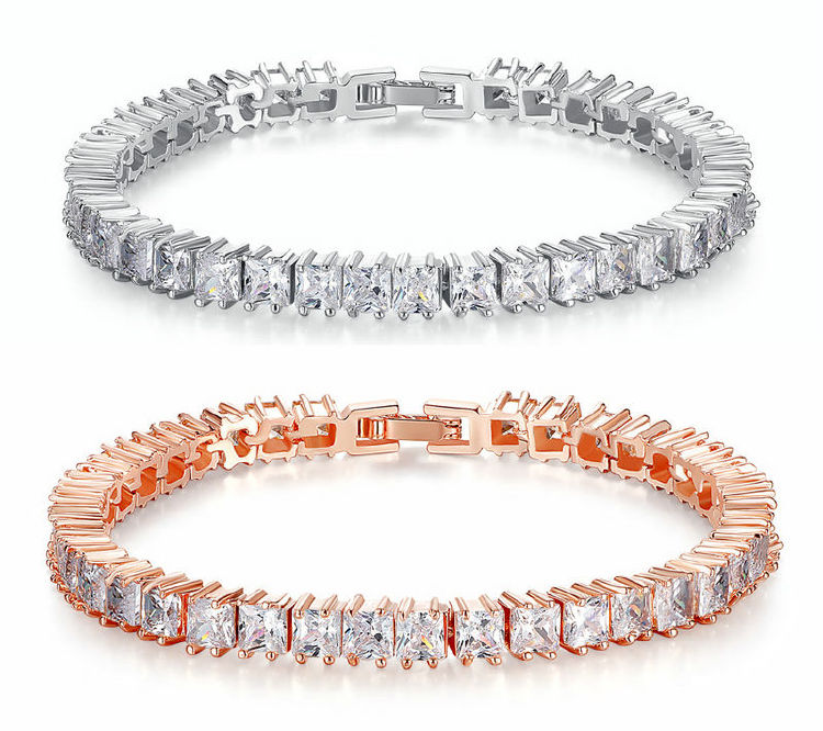 Rose gold bracelet collections - 1 array Cubic Zirconia Ston