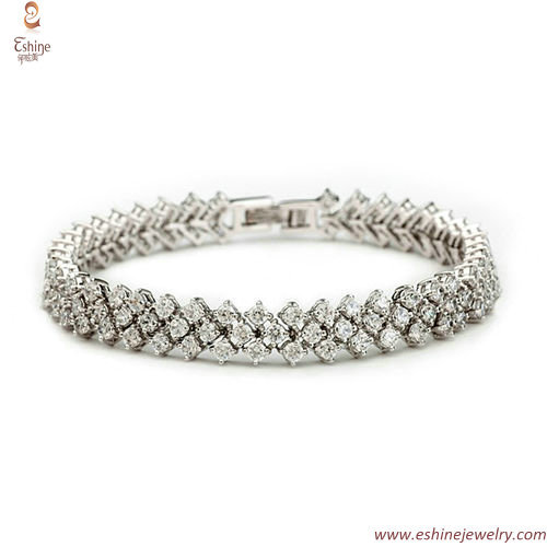 BR3357 - Iced out white rhodium hiphop CZ bracelet with 3 st