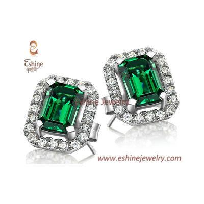 EV001 - Emerald jewelry set with stud earring pendant neckla