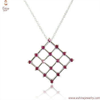 ST1813 - Checkboard jewelry set with Ruby seting pendant & w